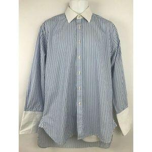 Charles Tyrwhitt Blue White Striped Button Shirt